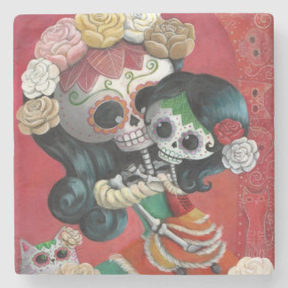 Dia de Los Muertos Skeletons Mother and Daughter Stone Coaster