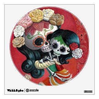 Dia de Los Muertos Skeletons Mother and Daughter Wall Decal