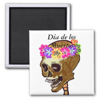 Dia de los Muertos skull 2 Inch Square Magnet