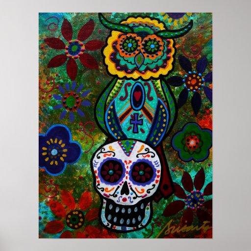 dia de los muertos skulls owl print