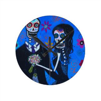Dia de los Muertos Special Wedding Round Clock