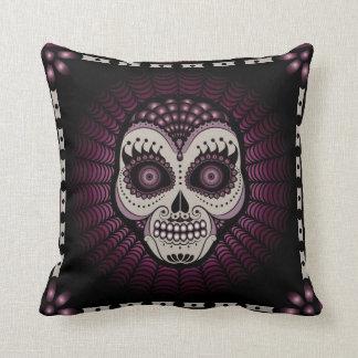 Dia de los Muertos spiderweb skull pillow