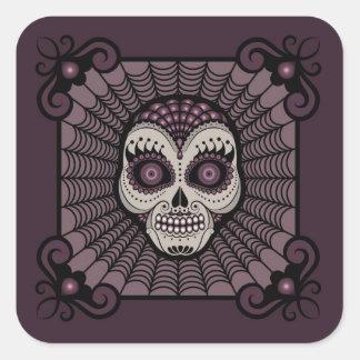 Dia de los Muertos spiderweb skull Square Sticker
