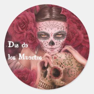 Dia de los Muertos Sticker Etiqueta Redonda
