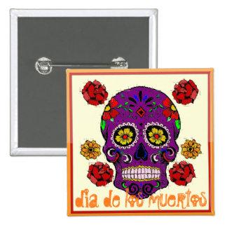 Dia de los muertos -- Sugar Skull Button