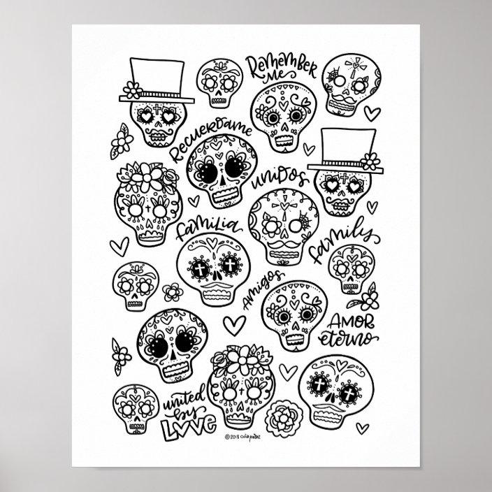 Dia De Los Muertos - Sugar Skull Coloring Page Poster Zazzle.com