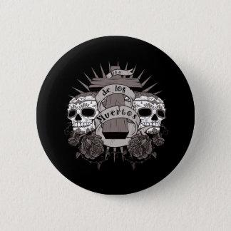 Dia De Los Muertos Sugar Skull Cross Roses Button