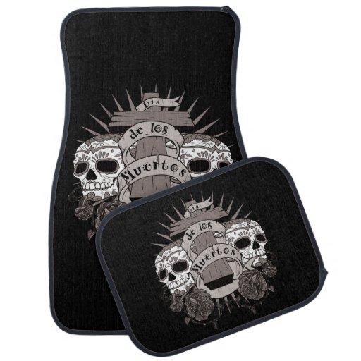 Dia De Los Muertos Sugar Skull Cross Roses Car Floor Mat ...