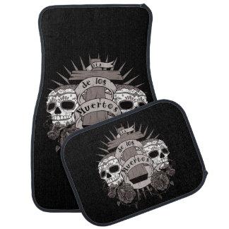 Dia De Los Muertos Sugar Skull Cross Roses Car Mat