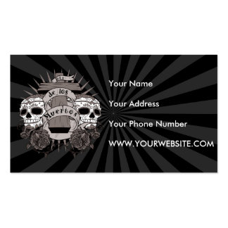 Dia De Los Muertos Sugar Skull Cross Roses Double-Sided Standard Business Cards (Pack Of 100)