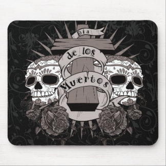 Dia De Los Muertos Sugar Skull Cross Roses Mouse Pad