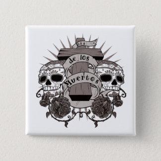 Dia De Los Muertos Sugar Skull Cross Roses Pinback Button