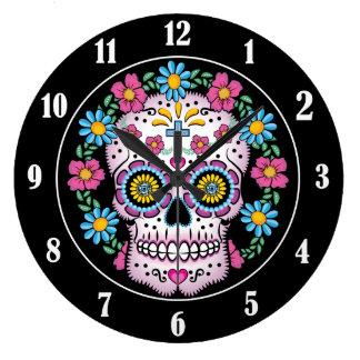 Dia de los Muertos Sugar Skull Large Clock