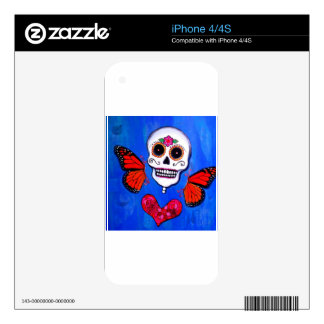 Dia De Los Muertos Sugar Skull Painting Decals For The iPhone 4S