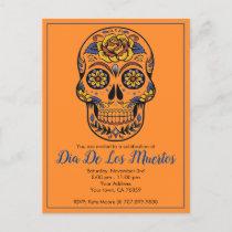 Dia De Los Muertos Sugar Skull Party Invitation Postcard