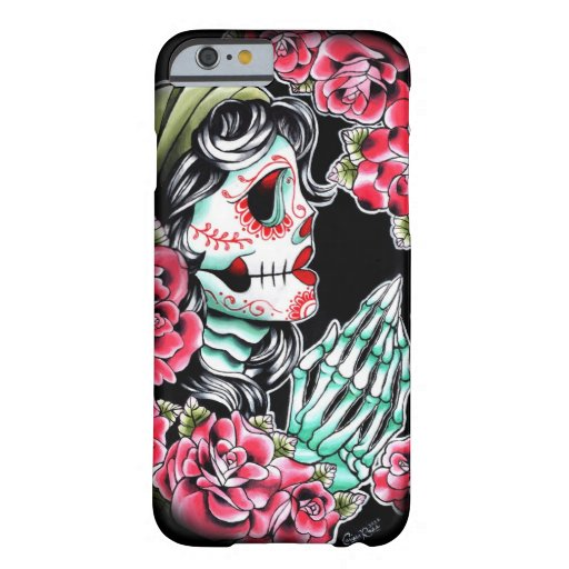 Dia de los muertos sugar skull tattoo flash barely there for Tattoo artist iphone cases