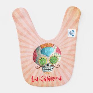 Dia de Los Muertos Sugar Skull with Mustaches Bib
