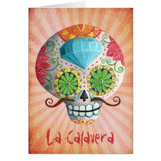 Dia de Los Muertos Sugar Skull with Mustaches Card