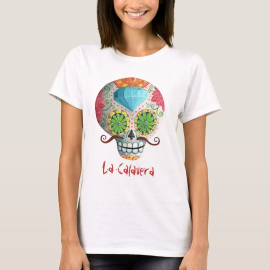 Dia de Los Muertos Sugar Skull with Mustaches T-Shirt