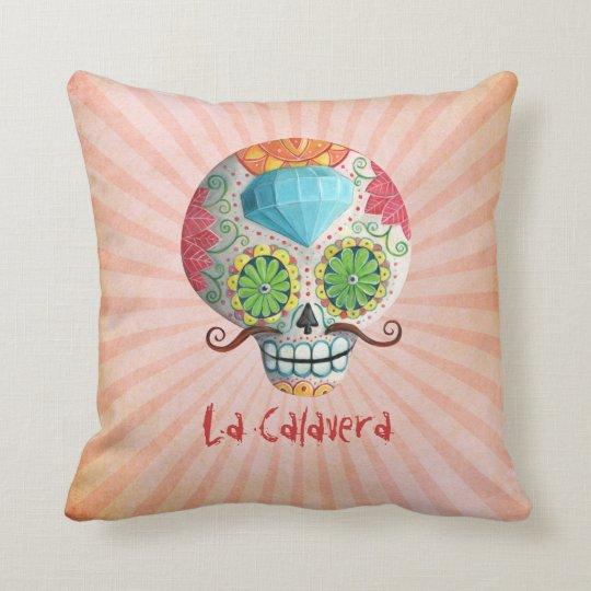 Dia de Los Muertos Sugar Skull with Mustaches Throw Pillow