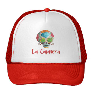 Dia de Los Muertos Sugar Skull with Mustaches Trucker Hat