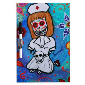 Dia de los Muertos Sweet Nurse Dry-Erase Board