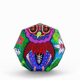 Dia de los Muertos talavera Wise Owl Acrylic Award