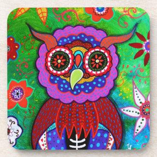 Dia de los Muertos talavera Wise Owl Coaster