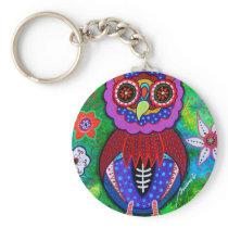 Dia de los Muertos talavera Wise Owl Keychain