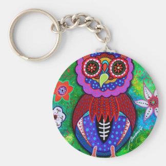 Dia de los Muertos talavera Wise Owl Basic Round Button Keychain