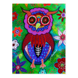 Dia de los Muertos talavera Wise Owl Postcard