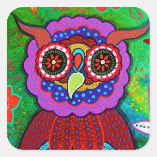 Dia de los Muertos talavera Wise Owl Square Sticker