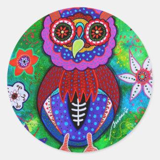 Dia de los Muertos talavera Wise Owl Sticker