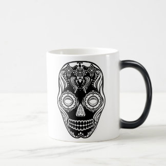 Dia de los Muertos That Girl Skull Black 11 Oz Magic Heat Color-Changing Coffee Mug
