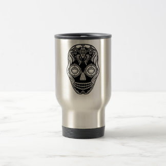 Dia de los Muertos That Girl Skull Black 15 Oz Stainless Steel Travel Mug