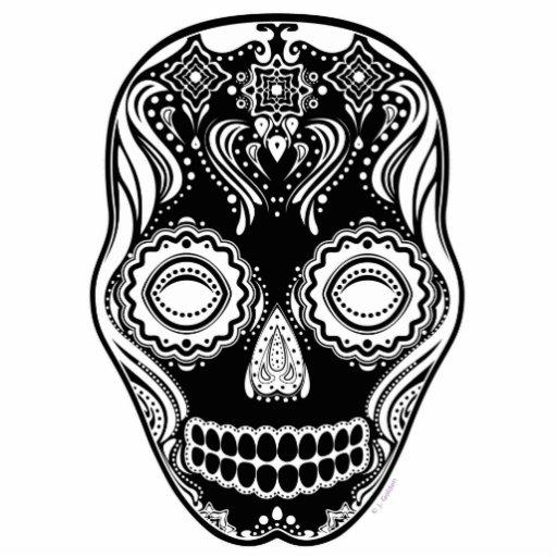 Dia de los Muertos That Girl Skull Black Photo Sculpture Ornament