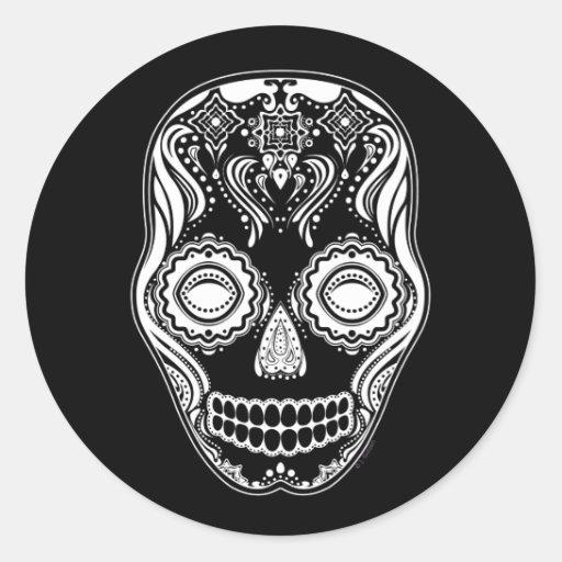 Dia de los Muertos That Girl Skull Black Classic Round Sticker