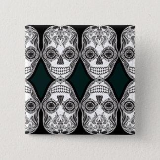 Dia de los Muertos That Girl Skull Diamond Pattern Button