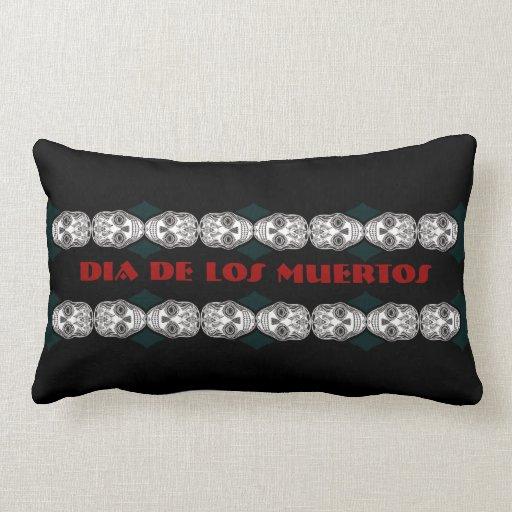 Dia de los Muertos That Girl Skull Diamond Pattern Throw Pillows