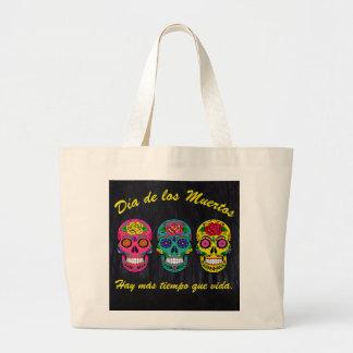 Día de los Muertos Three Sugar Skulls Halloween Large Tote Bag