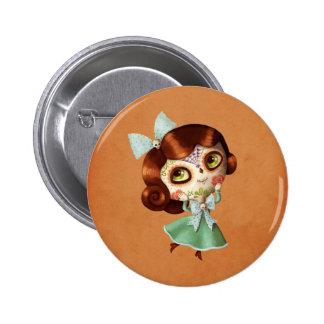 Dia de Los Muertos Vintage Doll 2 Inch Round Button