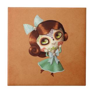 Dia de Los Muertos Vintage Doll Small Square Tile