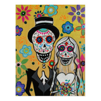 dIA DE LOS mUERTOS wEDDING cOUPLE Postcard