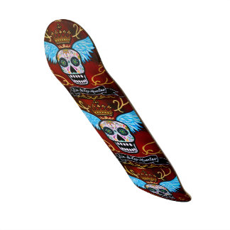 Dia de los Muertos Winged Calaveras Skateboard