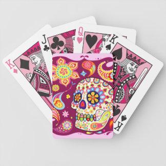 Día de los naipes muertos del cráneo del azúcar barajas de cartas
