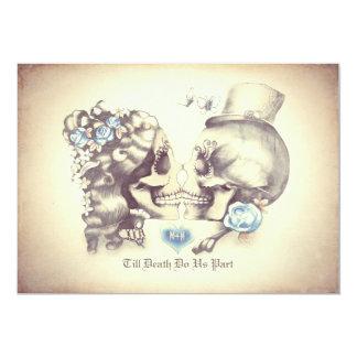"""Día de los pares del cráneo de las invitaciones invitación 5"""" x 7"""""""