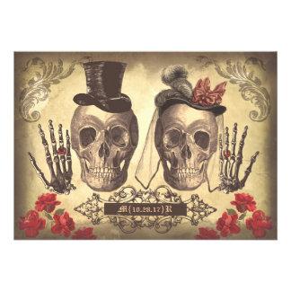 Día de los pares del cráneo del fiesta de compromi invitación
