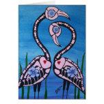 Día de los pares rosados muertos del flamenco tarjeta de felicitación