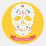 Día de los pegatinas muertos del cráneo del etiquetas redondas
