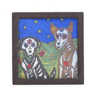 Día de los perros esqueléticos muertos cajas de joyas de calidad